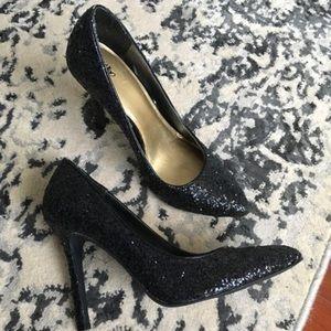 Mossimo Black Glitter Heels Size 7.5